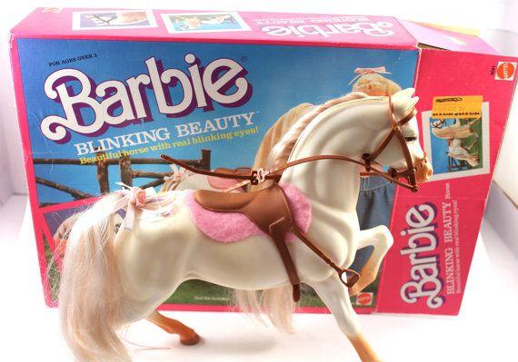 "1987 Barbie ""Blinking Beauty"" horse #5087 - white horse, vintage 1980s Barbie, Mattel, animal, original box!"