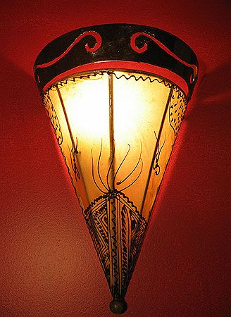 Moroccan Henna Painted Sconce