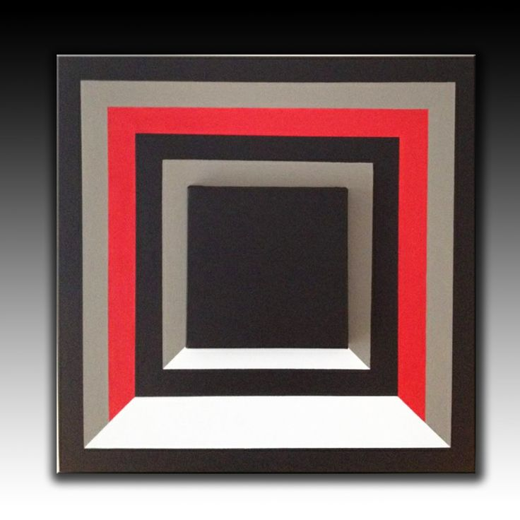 Black Red White, canvas upon canvas', Abstract Original Painting, Geometric Acrylic Painting, Large Wall Art, Modern Wall Deco,