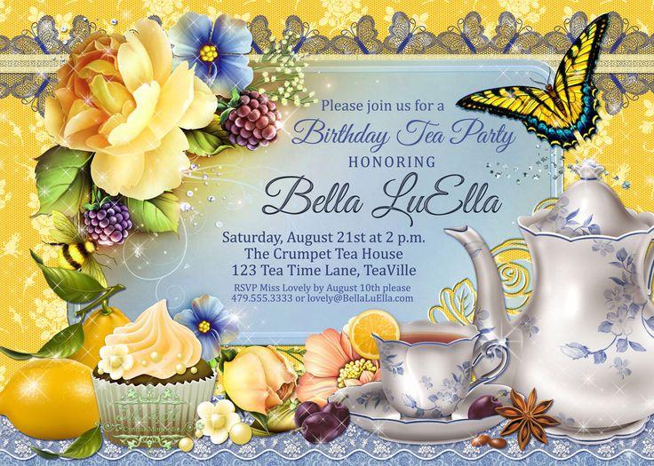 Tea Party Invitation, Tea Parties, Bridal Tea Party Invitations, Party Invitations, Tea Time by BellaLuElla on Etsy https://www.etsy.com/listing/129058901/tea-party-invitation-tea-parties-bridal