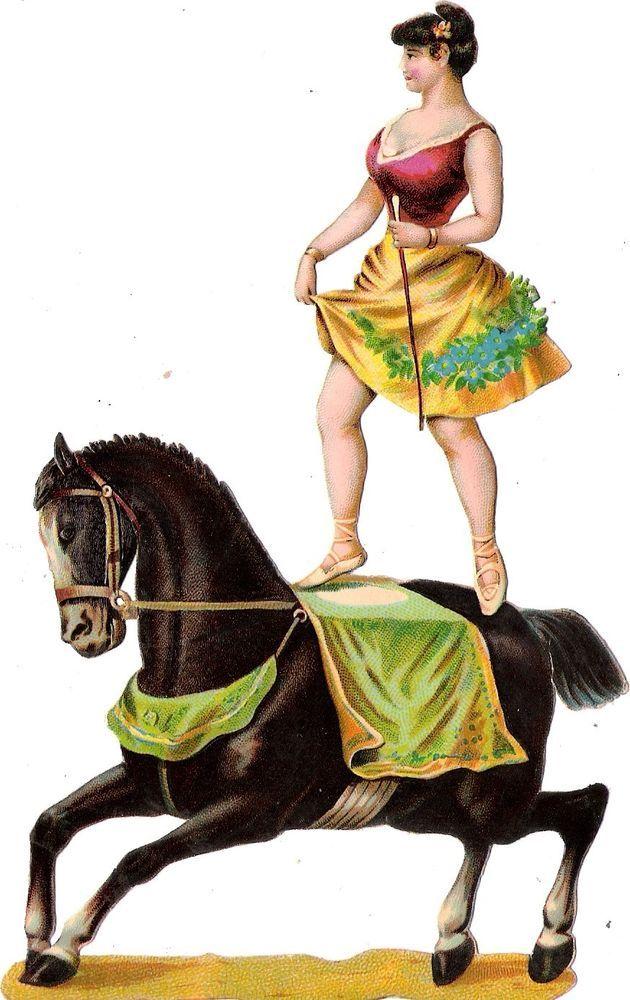 Oblaten Glanzbild scrap die cut chromo Zirkus  17,8 circus cirque Artist Pferd