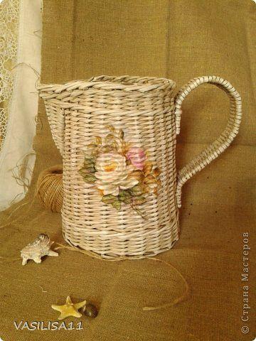 Поделка изделие Плетение Весна +плетеночки  Бумага газетная Трубочки бумажные фото 2
