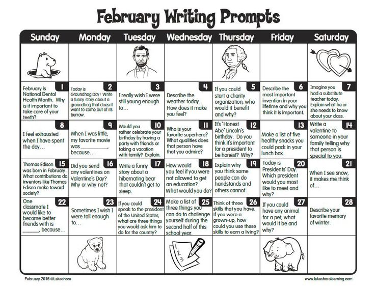 February Writing Prompts Calendar: perfect for journal writing or center. Free printable!