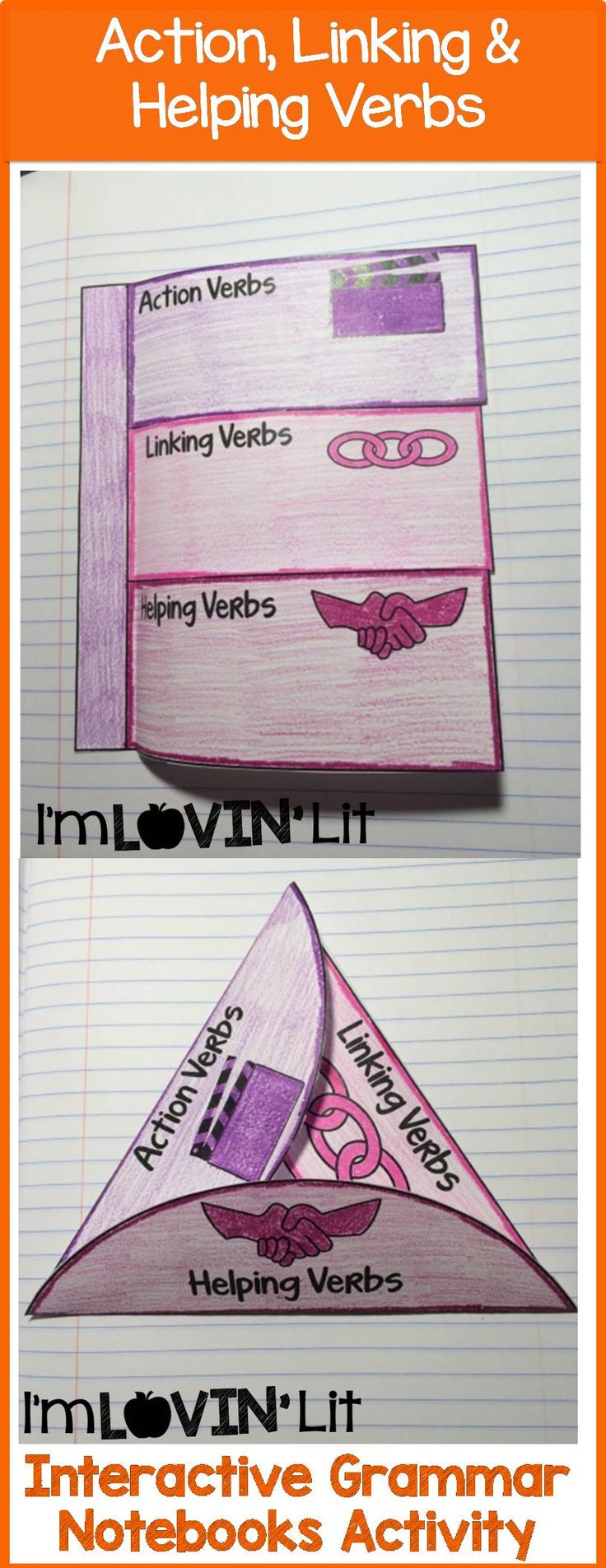 Action, Linking & Helping Verbs Interactive Notebook Activity, Foldable, Organizer, Lesson