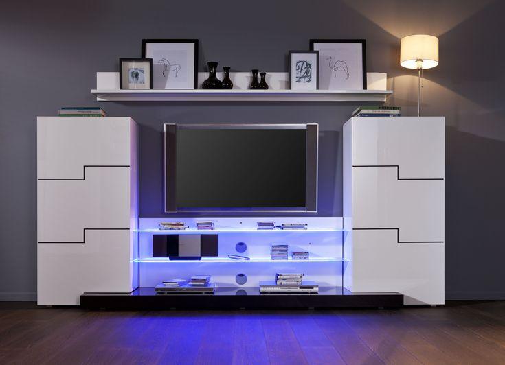 15 pingles tv au mur incontournables meuble tv noir inspiration salle tele et id e salle tele. Black Bedroom Furniture Sets. Home Design Ideas