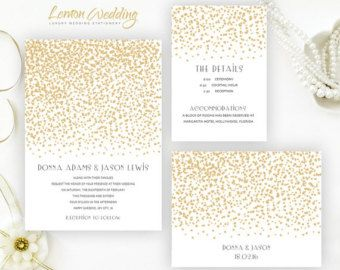 Gold Wedding Invitations Printed On Luxury Shimmer Paper | Gold Stars  Invitations With RSVP Postcard |