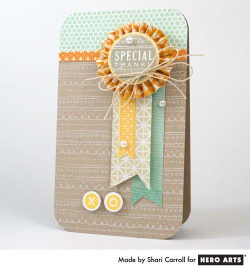 shari-carrollHero Arts, Cute Cards, Pattern Paper, Paper Rosette Cards, Colors Schemes, Cards Wedding, Curls Pattern, Basic Grey, Heroes Art Cards