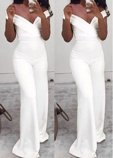 42b296039fb White Off Shoulder Ruffle Overlay Flare Sleeve Sexy Jumpsuit. Best 25 White  jumpsuit ideas on Pinterest