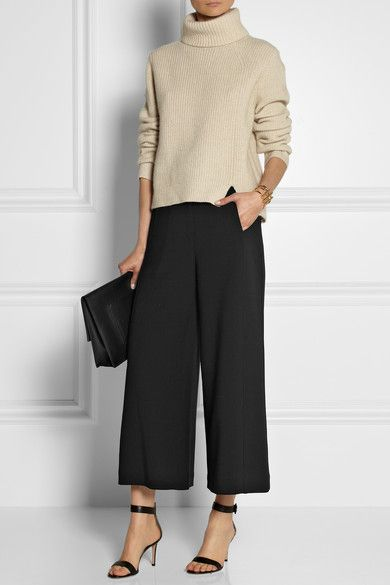 classic winter outfit with cropped trousers, strappy heels and turtleneck