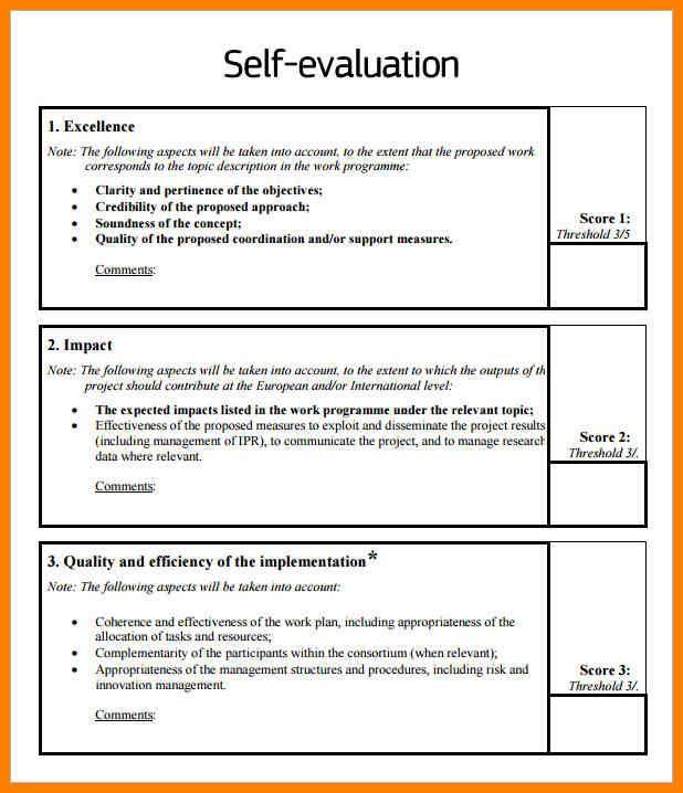 Self Evaluation Sample Evaluation Employee Self Evaluation Employee Self Assessment