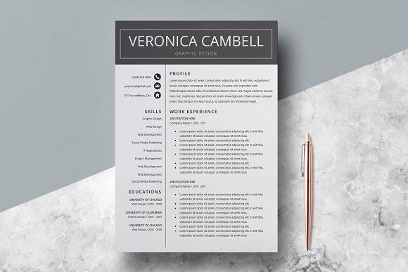 Resume Template/CV/Veronica Cambell -  Welcome to the LucaTheme! Our templates will serve You to present Your skills, achievements and experience in order to shape You skills on the new position and get Your dream job. You can modify LucaTheme's templates in a very easy way according to Your own needs to show them later to Your future employer.  Professional CV /Resume Template Design (Optional second page) + Cover Letter & References for Microsoft Word US Letter and A4 Templates included @creat