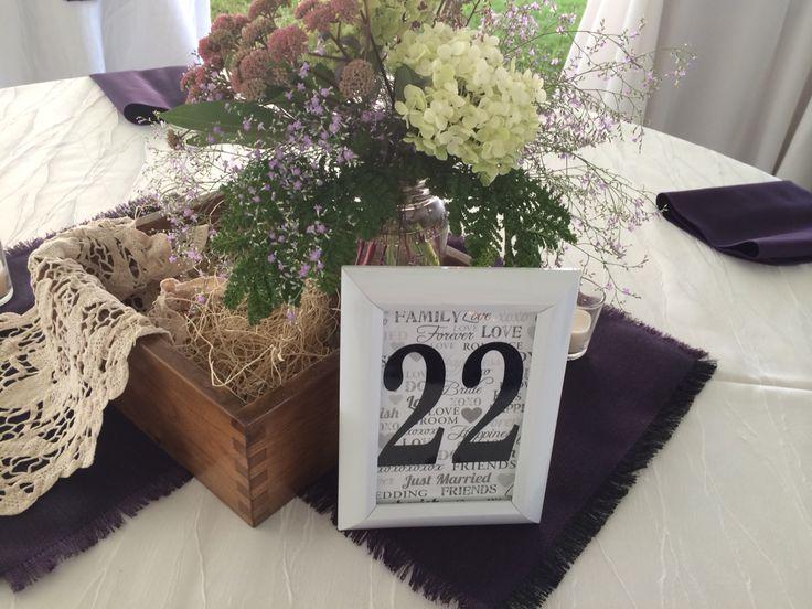 Wedding centrepiece, table numbers, box centrepiece, purple wedding theme