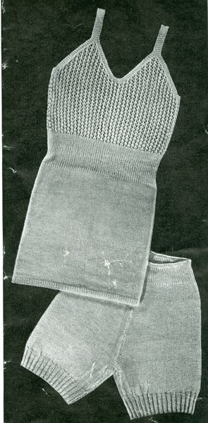 """Vintage ladies underwear knitting pattern 1940's. Knitted underwear pattern 'Cosyness'  aaah! Knitted in vintage 2ply will fit a 34"""" bust and 38"""" hips"""