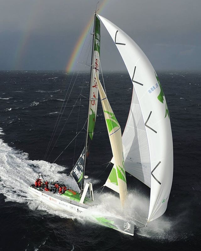 #vor70 Green Dragon challenging a 30 knots wind after the start in Galway during the @volvooceanrace 2008-2009 Photo credit : Rick Tomilison