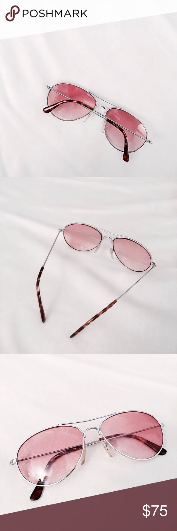 Authentic '70s Rose Candy Aviators Real vintage aviators from the 70s with rosy pink tinted lenses. Silver frames and tortoiseshell accents. Kept in great condition with light wear. Approx value $150. -OLIVIA CHENG CURATED VINTAGE- Vintage Accessories Sunglasses