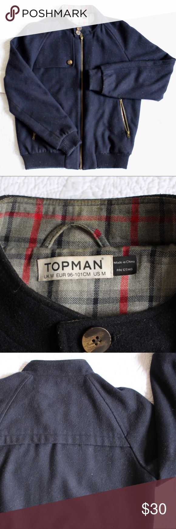 """TOPMAN navy varsity jacket Length 27"""" (flat, about 24"""" when worn); width ptp 22"""".  Good used condition.  Minor pilling and some lint on fabric but will improve with a visit to the dry cleaners.  Worn a total of 5 times.  Offers welcomed. Topman Jackets & Coats Bomber & Varsity"""