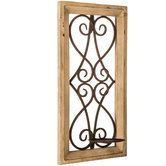 Natural Wood & Metal Scroll Wall Candle Holder