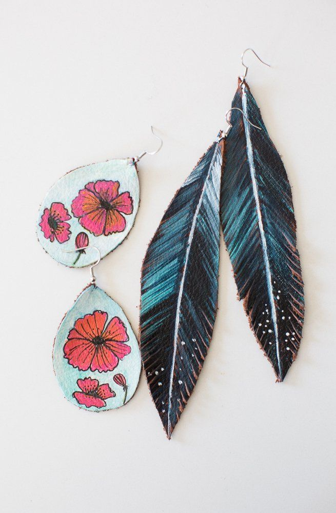 254e6d971d9ea How to make DIY painted leather earrings from Michaels Makers ...