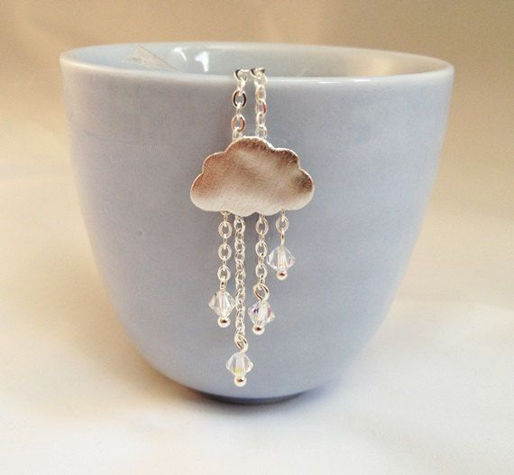 Let it Snow Silver Cloud Necklace with Clear by DesignsbyZoZo, £9.00