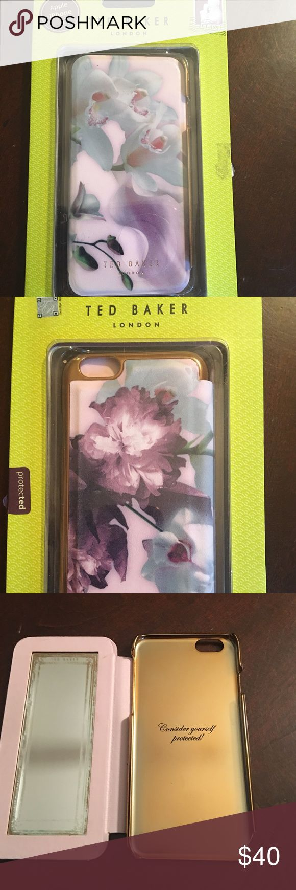 🌺🎀Ted Baker Designer IPhone 6 Cellphone Case🌺🎀 🌺🎀Ted Baker IPhone 6 Case is a wonderful case!! Has inside mirror to check your hair, makeup etc... it also has a magnet in it to hold the mirror to back of phone while using this case is new but it does have a chip on base... still hold phone fine and barely noticeable..see pic 4 price is marked according to condition🌺🎀I have same exact case in 6plus for myself and I absolutely love it💞🌺 Ted Baker Accessories Phone Cases
