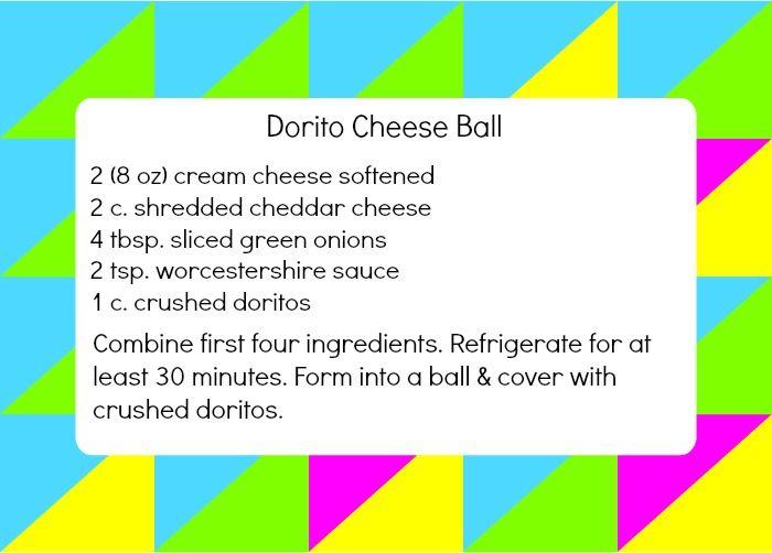 80s party - Dorito Cheese Ball recipe