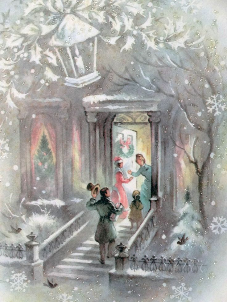#51 60s Glittered Greetings at the Front Door-House-Vtg Christmas Card-Greeting