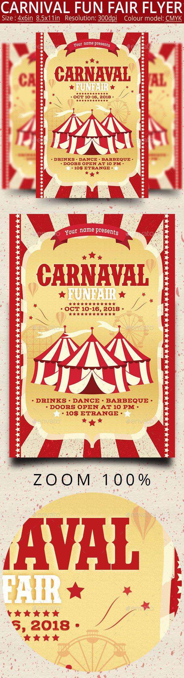 Carnival Fun Fair Flyer Poster -  amusement, birthday, carnival, carnival flyer, celebration, circus, circus intro, circus opener, circus tent, county fair, decoration, entertainment, event, fair, festival, flag, flyer, fun, funfair, happy, holiday, invitation, kids, party, show, summer, tent, vector illustration, vintage