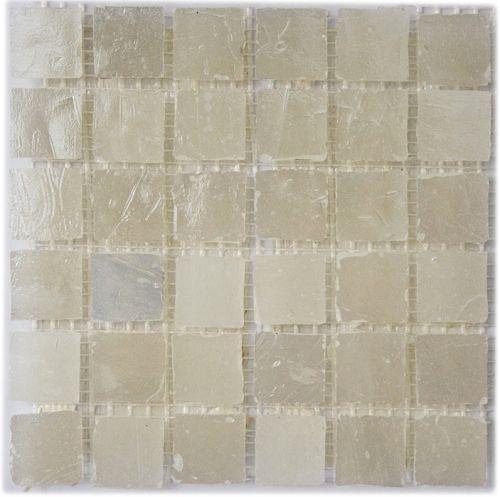 Loft Silver - Iridescent, irregular edged glass mosaic tile in silver grey tones.