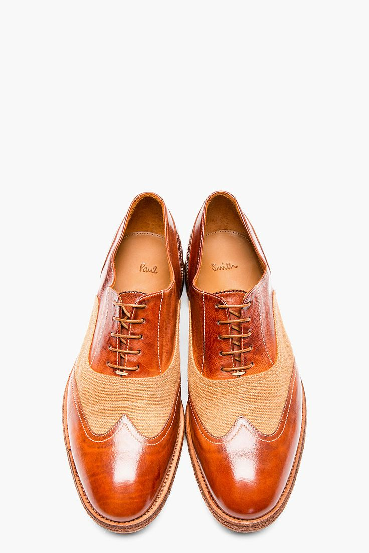 Paul Smith Brown Leather and Burlap Dennis Austerity Brogues