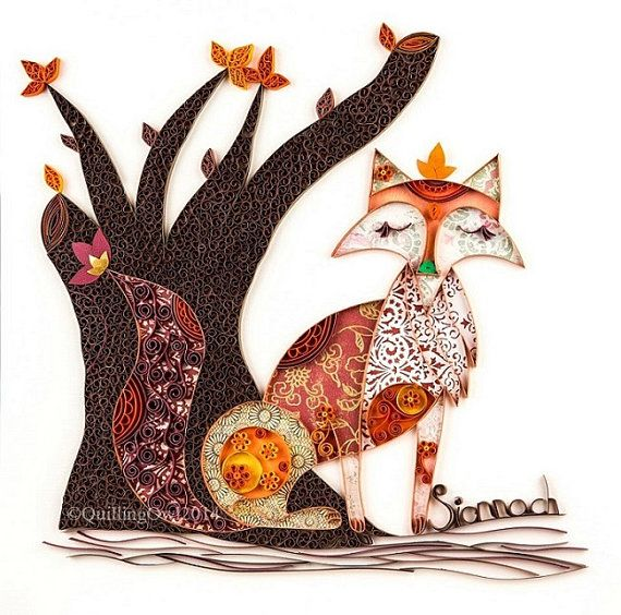 Fine art GICLEE print ,Rusty the Sionnach,  Paper Illustration of a Fox - Fine Paper Art, Quilling Art