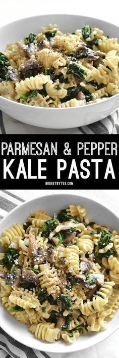 Parmesan & Pepper Kale Pasta is a quick and easy weeknight meal. Just a few ingredients transform boring pasta into a fancy meal. @budgetbytes