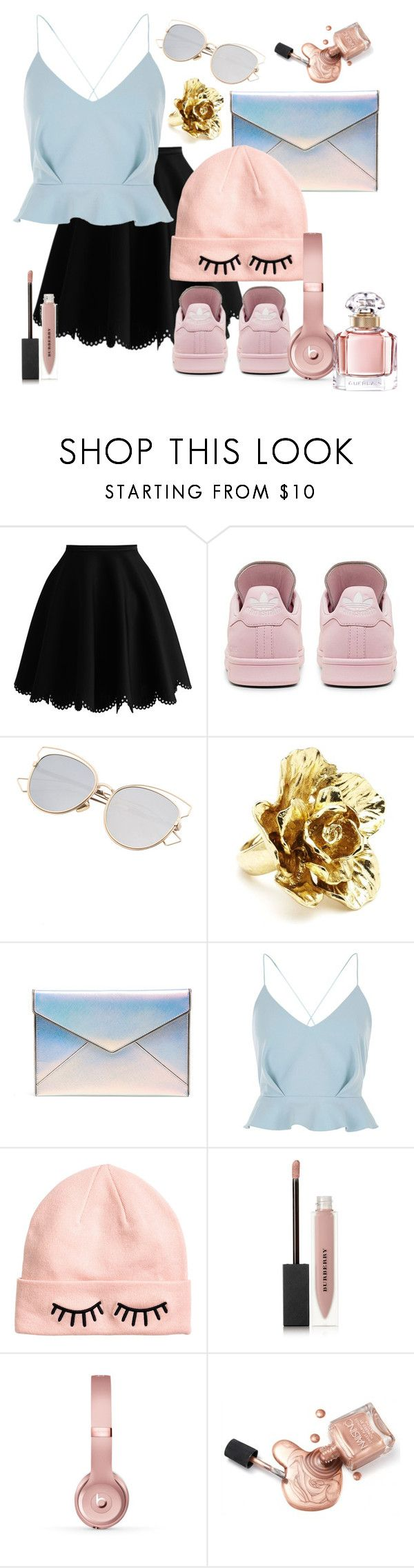 """""""Creative with beats"""" by hpfandomtrash ❤ liked on Polyvore featuring adidas, Oscar de la Renta, Rebecca Minkoff, River Island, H&M, Burberry, Beats by Dr. Dre and Guerlain"""