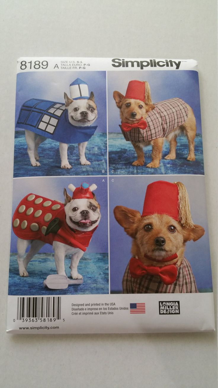Simplicity Sewing Pattern 8189 Dog Costumes Inspired by Doctor Who Tardis Dalek…
