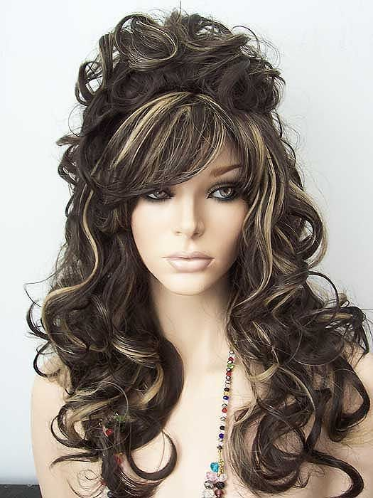 Julienne Deluxe Drag Wig Dark Brown Highlighted With