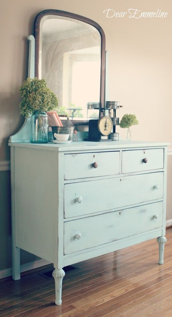 DIY: Old Pickup Blue Dresser Re-Do {With DIY cheap chalk paint recipe).