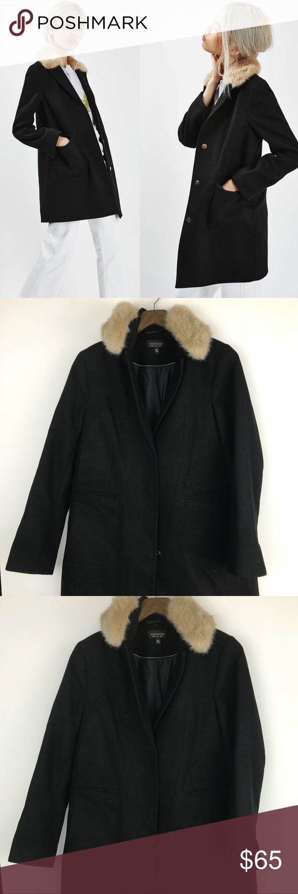 """NWOT Topshop Fur Collar Coat Brand new without tags.  Approximate measurements: Bust - 19"""" across  Length 30""""  94% Polyester//4% Viscose//1% elastane     🏷TOP-20-11102017 Topshop Jackets & Coats"""