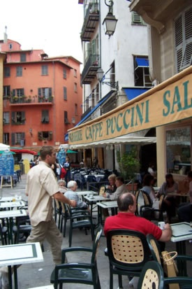 Cafe Puccini in Nice, France: Pacific Salmon, Zuid Frankrijk, Cafes Puccini, Glass, Living Abroad, Cote D Azure, San Francisco, Nice Cafes, Live Italy