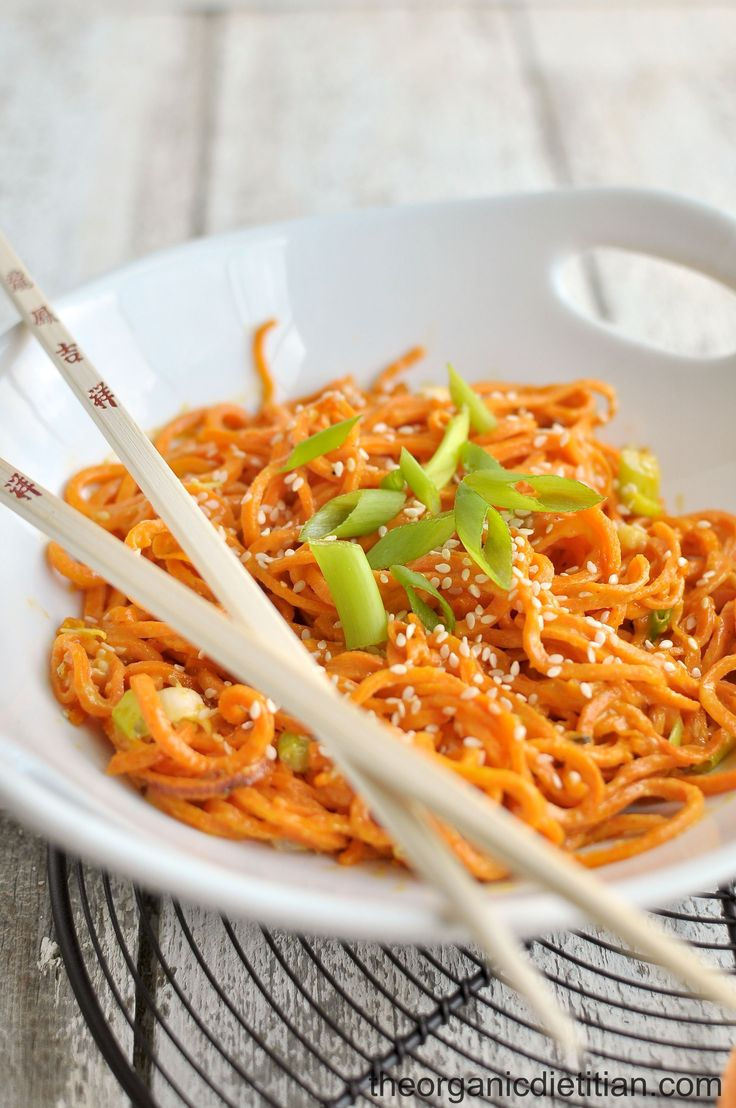 Craving pasta? Try these vegan, gluten free, paleo, low carb, grain free, and healthy sesame sweet potato noodles. An easy entrée or side ready in 20 min.