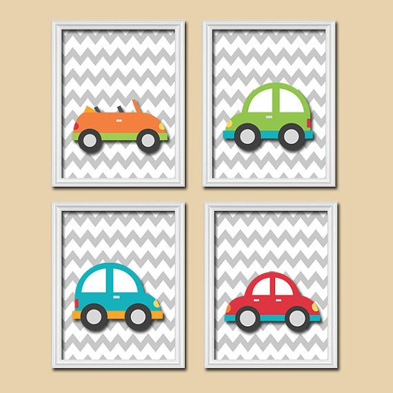 Cute Car Transportation Chevron Pattern Set of 4 Prints WALL Decor ART Child Boy Bedroom Picture Decor on Etsy, $33.00