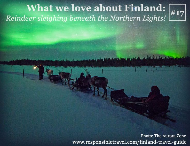 What we love about Finland #16: Sleighing beneath the Northern Lights! Find more at http://www.responsibletravel.com/holidays/finland/travel-guide/things-to-do-in-finland