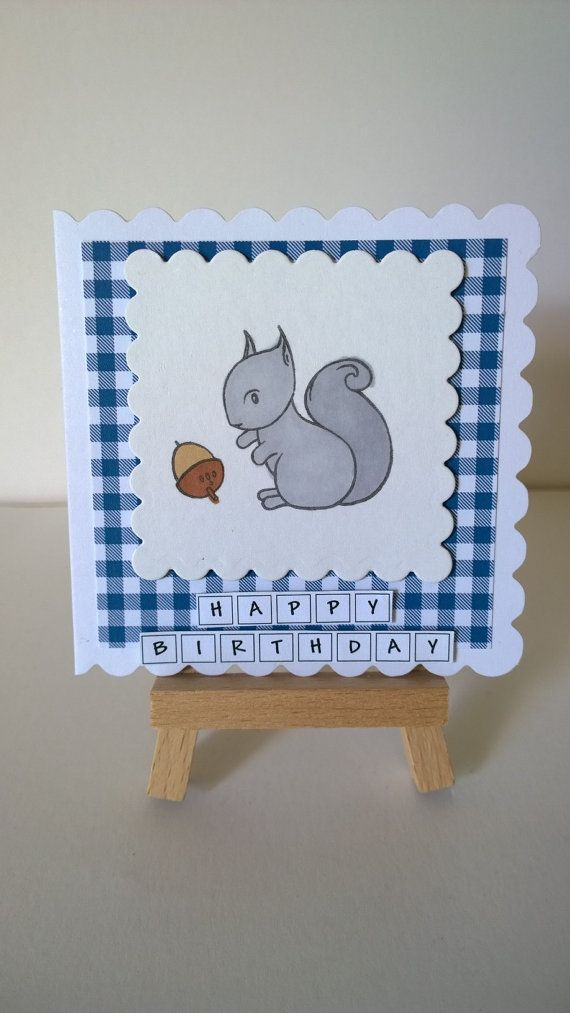Handmade Squirrel Birthday Card by Lazymitts on Etsy
