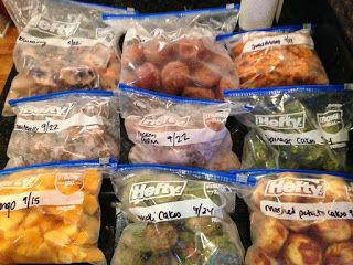 Freezer Cooking  : Toddler/Baby Finger Foods Shopping lists, amounts, ingredients, and instructions on how to make a TON of easy toddler finger foods:   Healthy Meatballs (24-32) Mini Chicken Parmesan Cups (24) Broccoli Cheese Patties (20) Spinach Cups (20) Mashed Potato Cups (24) Blueberry Donut Muffins (30) Apple Banana Muffins (24) Sweet Potato Fries