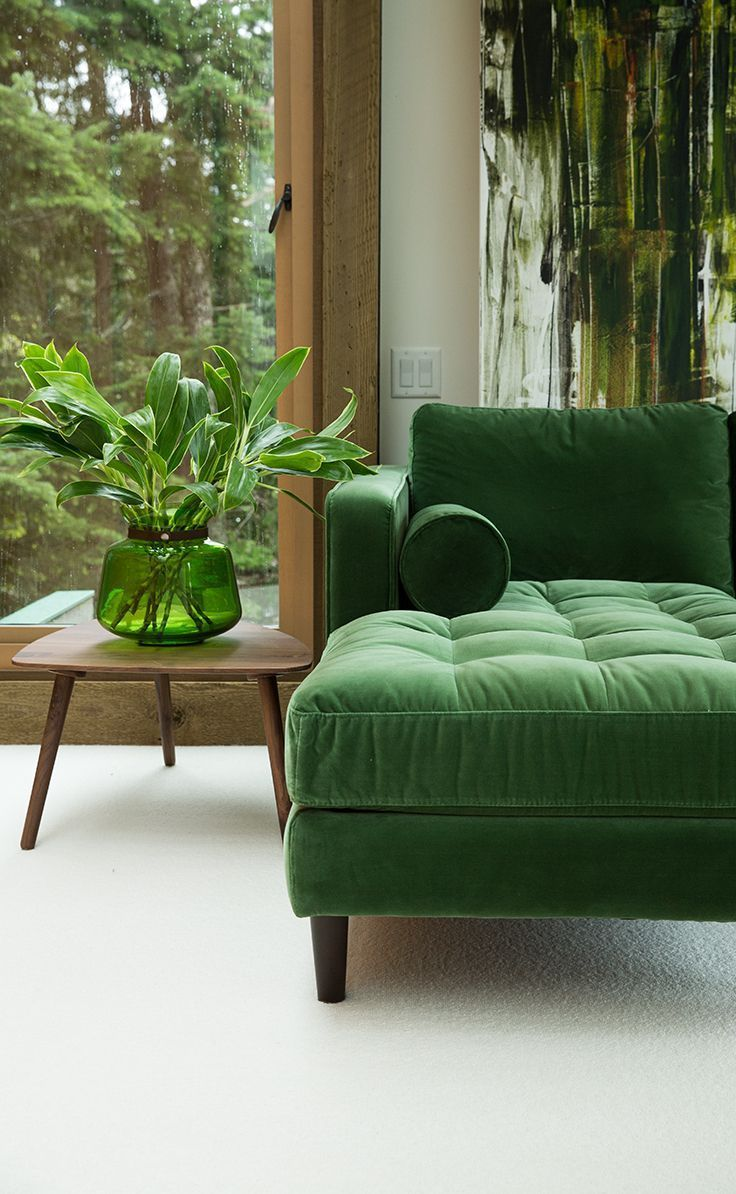 Emerald Green Velvet Sofa And MCM Side Table