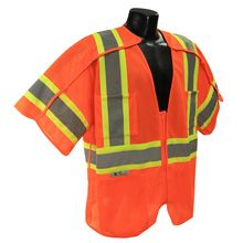 Radians Hi Vis Orange Breakaway Surveyor Vest Class 3 SV24-3ZOM | Hi Vis Safety Direct will beat any other price , we are #1 in Hi Visibility Items .