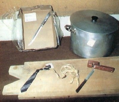 Murder weapons used by Nilsen the tie knotted to a piece of string with which he killed Stephan Sinclair.