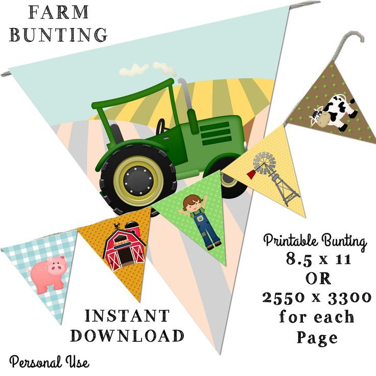 Printable Bunting - Farm Bunting -8.5 x 11 -Instant Download-Pretty Room Decorations by JustDigitalPapers on Etsy