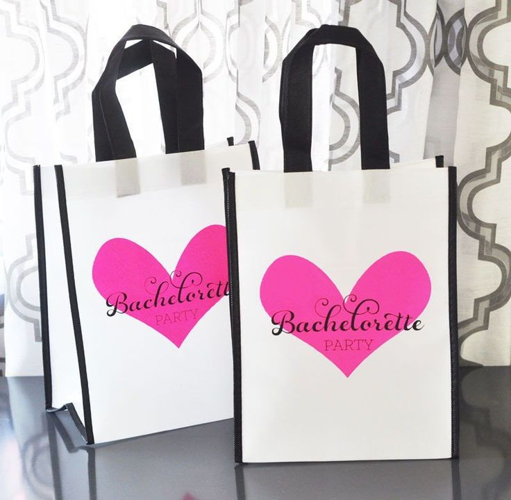 Bachelorette Party Bags are a stylish way to package up all the essentials needed for girls only weekend getaway. These useful re-useable tote bags are large enough to be filled with your own sunscree