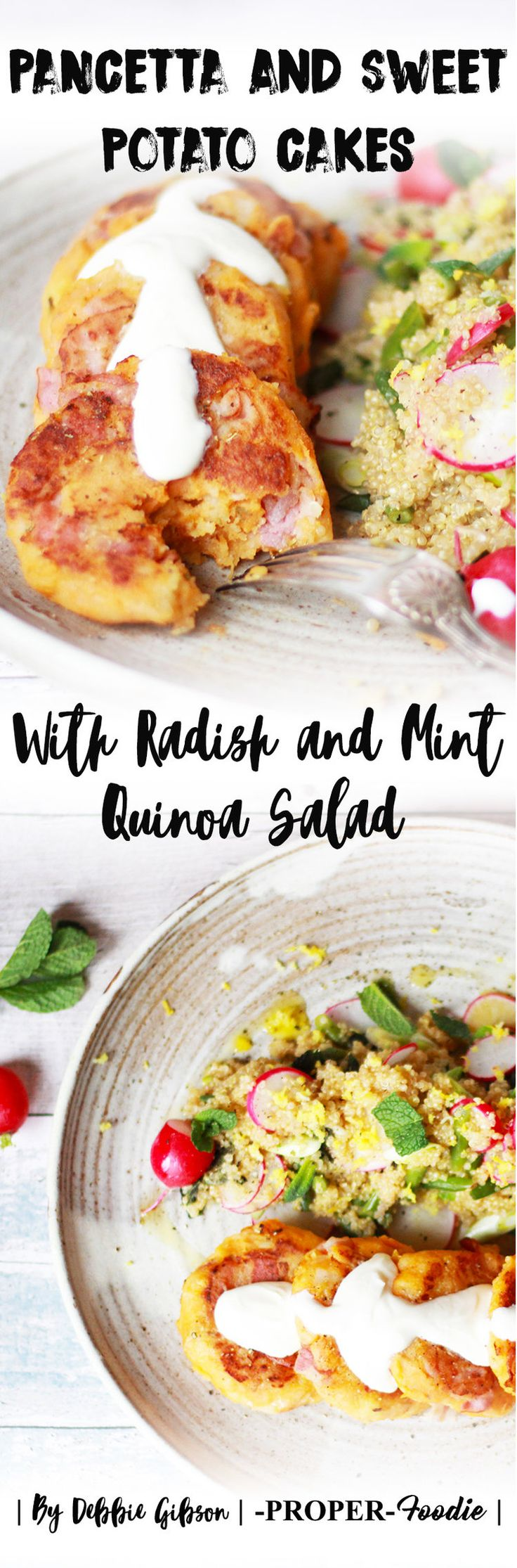 Rosemary, Pancetta and Sweet Potato Cakes with Radish and Mint Quinoa Salad — Kat Horrocks