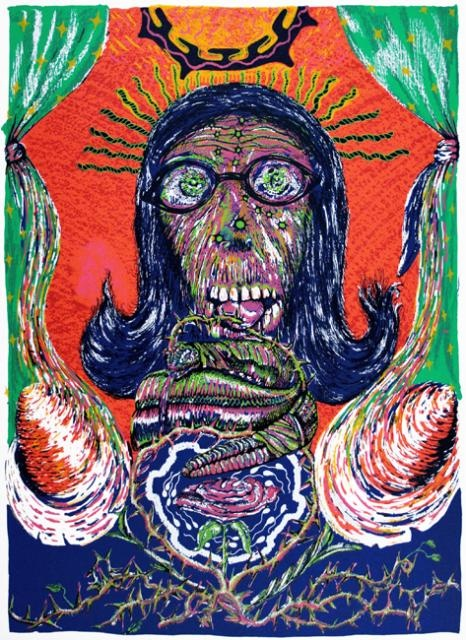 Juan A. Farias,  Se Cree Cheerleader, 1995,  Screenprint, #LatinoArt #MexicanAmericanArt #serigraphy #printmaking