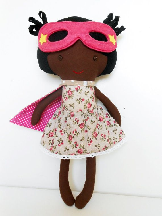 Black super hero girl rag doll by LaLobaStudio #blackdolls #superherogirls #ragdoll #fabric_doll